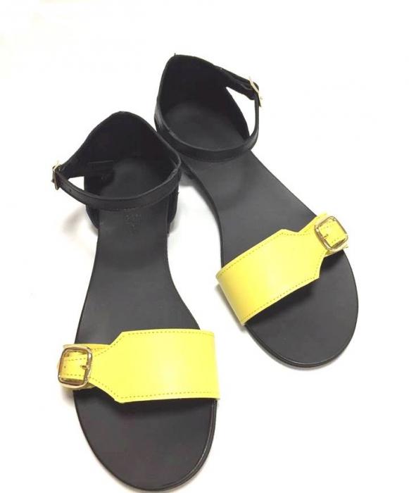 Sandale de dama din piele Ada Yellow 0