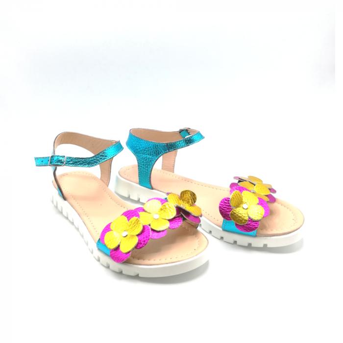 Sandale dama cu platforma si flori din piele naturala Turquoise Metal 1