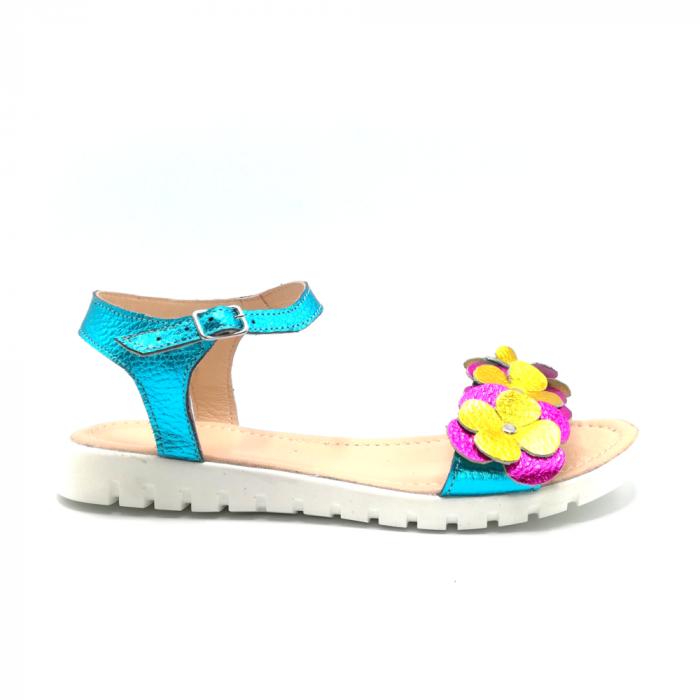 Sandale dama cu platforma si flori din piele naturala Turquoise Metal 0