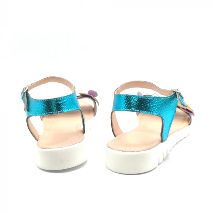 Sandale dama cu platforma si flori din piele naturala Turquoise Metal 3