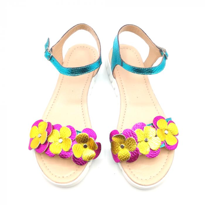 Sandale dama cu platforma si flori din piele naturala Turquoise Metal 2