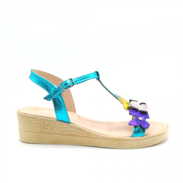 Sandale dama cu platforma si flori din piele naturala Turquoise 0