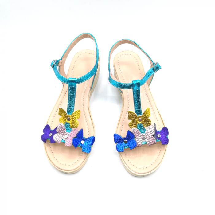 Sandale dama cu platforma si flori din piele naturala Turquoise 2