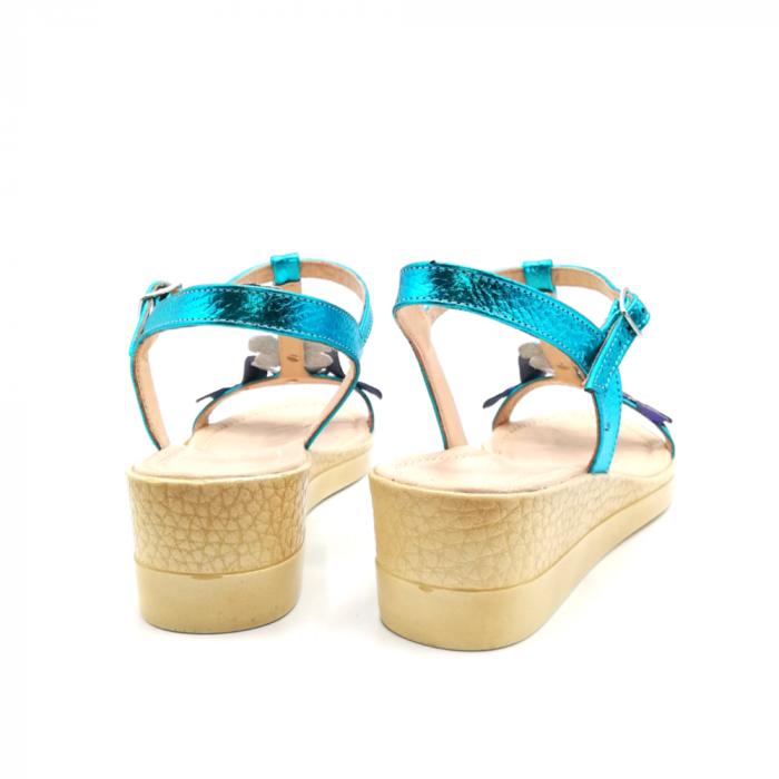 Sandale dama cu platforma si flori din piele naturala Turquoise 3