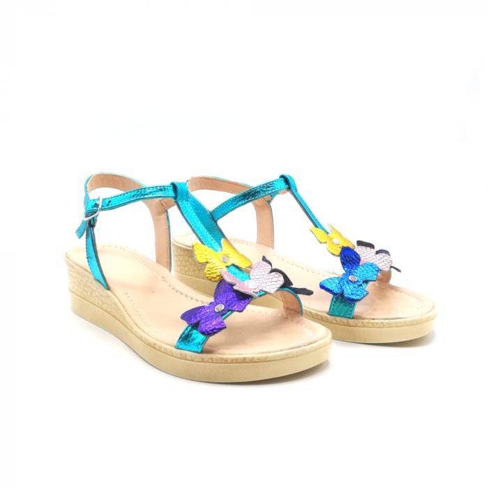 Sandale dama cu platforma si flori din piele naturala Turquoise 1