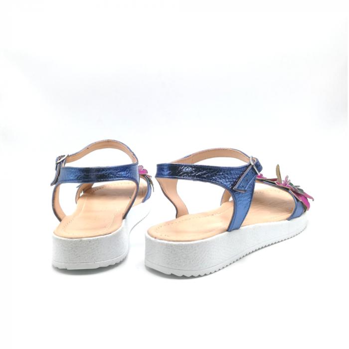 Sandale dama cu platforma si flori din piele naturala Purple 3