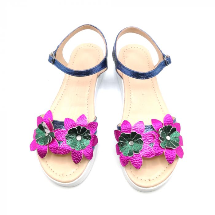 Sandale dama cu platforma si flori din piele naturala Purple 2