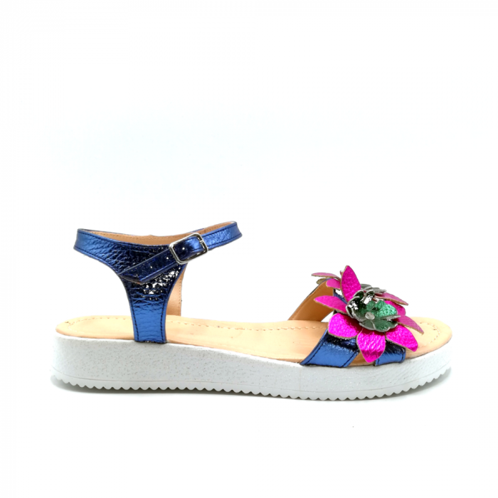 Sandale dama cu platforma si flori din piele naturala Purple 0