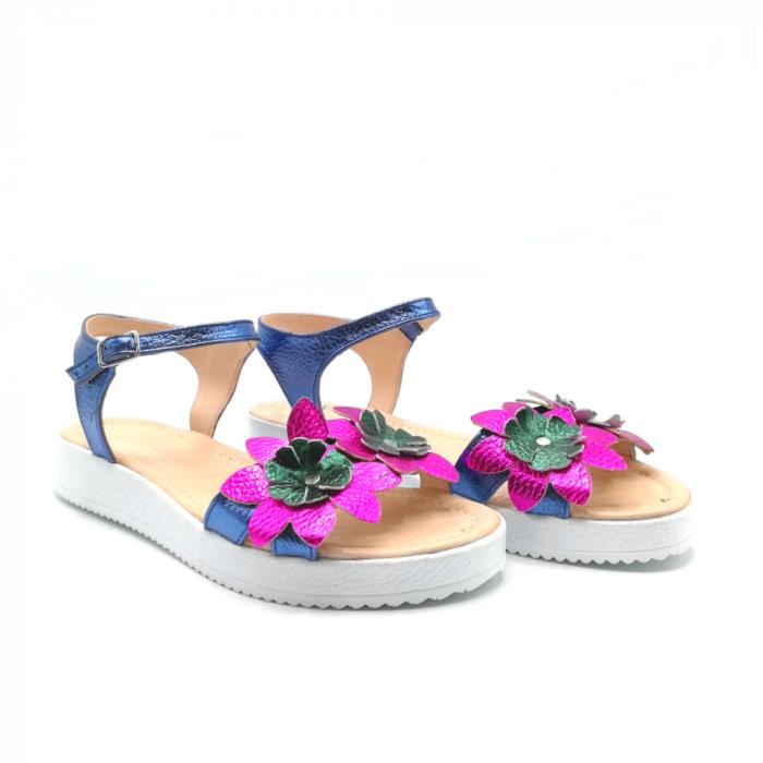 Sandale dama cu platforma si flori din piele naturala Purple 1