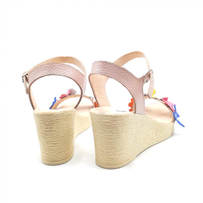 Sandale dama cu platforma si flori din piele naturala Colorful Nude