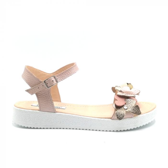 Sandale dama cu platforma si flori din piele naturala Nude 0