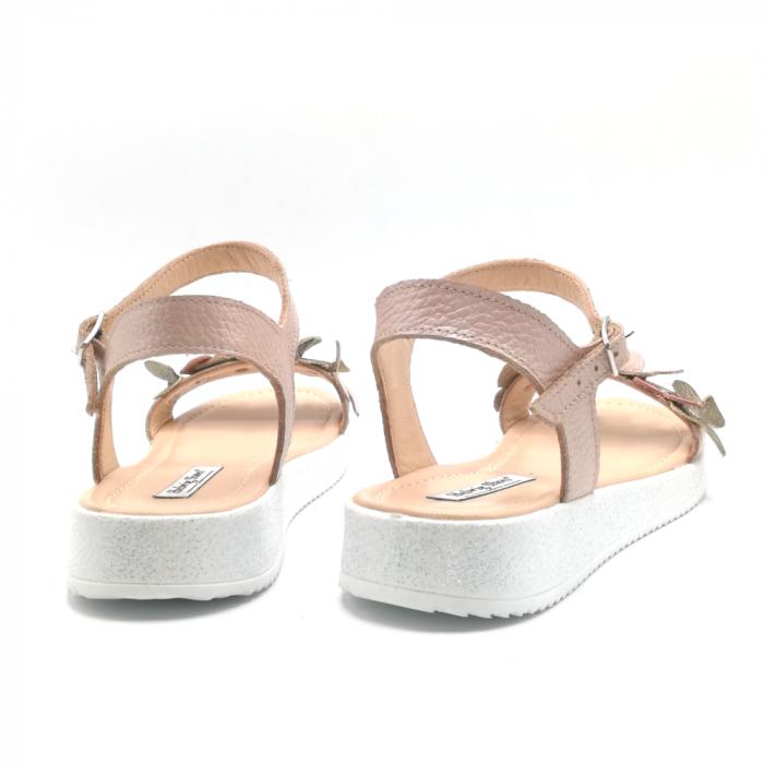 Sandale dama cu platforma si flori din piele naturala Nude 3