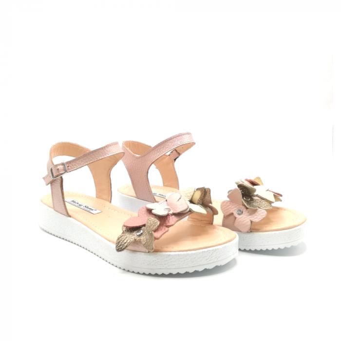 Sandale dama cu platforma si flori din piele naturala Nude 1