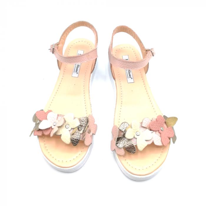 Sandale dama cu platforma si flori din piele naturala Nude 2