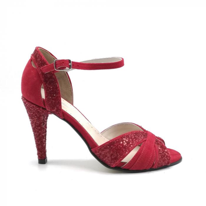 Sandale dama cu toc Deep Red din piele naturala 0