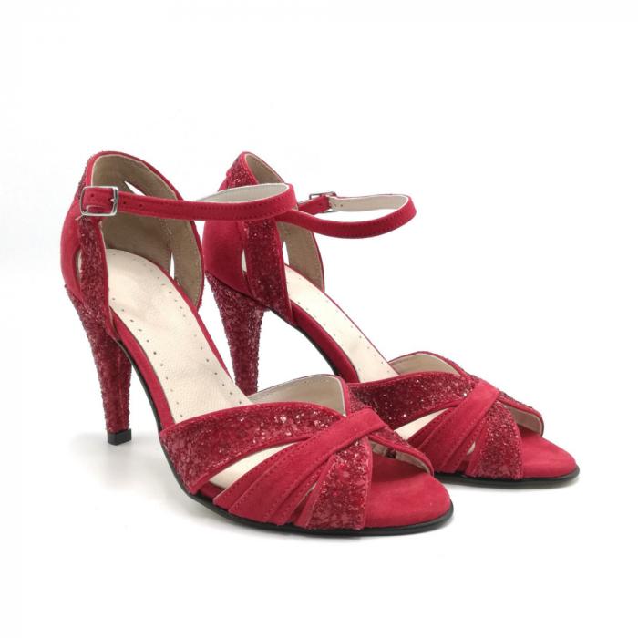 Sandale dama cu toc Deep Red din piele naturala 1