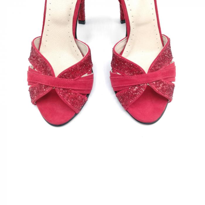 Sandale dama cu toc Deep Red din piele naturala 3