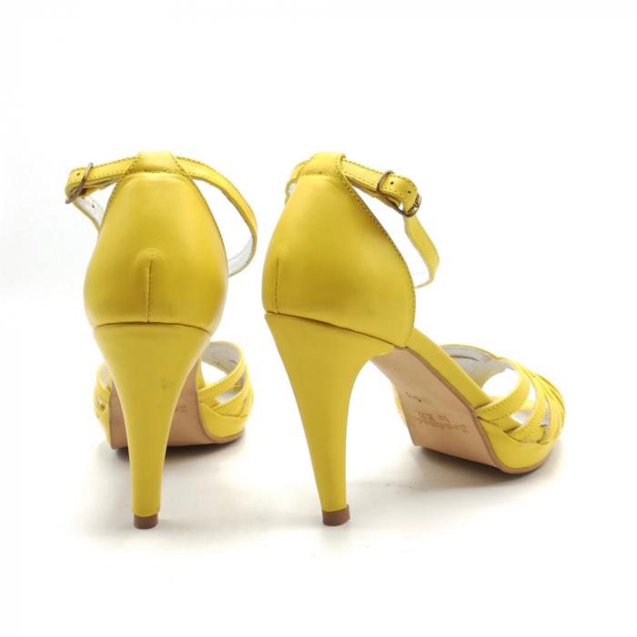 Sandale dama cu toc Bright Yellow din piele naturala 3