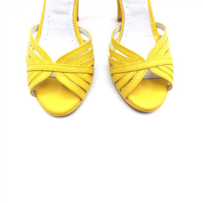 Sandale dama cu toc Bright Yellow din piele naturala 4