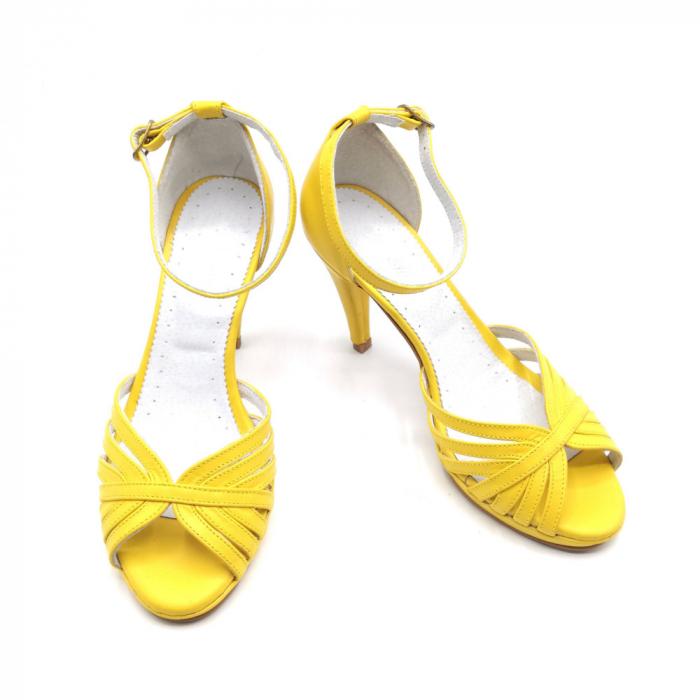 Sandale dama cu toc Bright Yellow din piele naturala 2