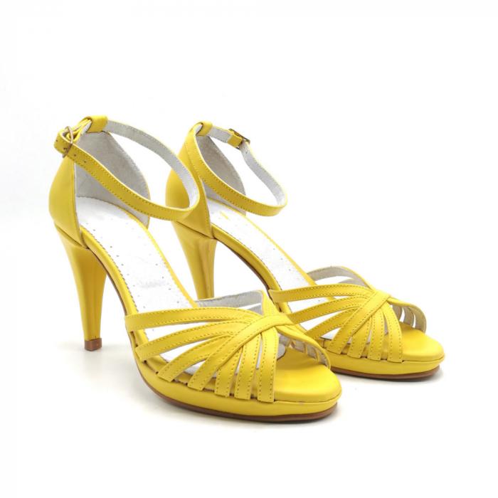 Sandale dama cu toc Bright Yellow din piele naturala 1