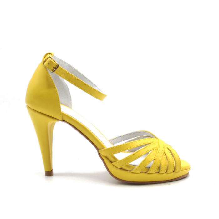 Sandale dama cu toc Bright Yellow din piele naturala 0