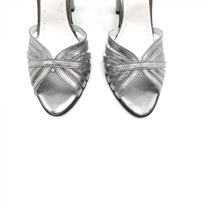 Sandale dama cu toc gros Shiny Silver din piele naturala 4