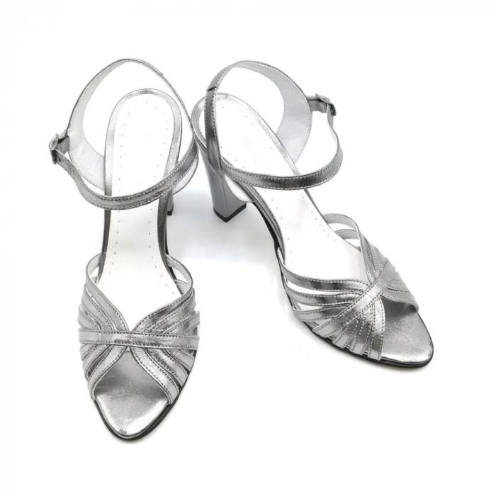 Sandale dama cu toc gros Shiny Silver din piele naturala 2
