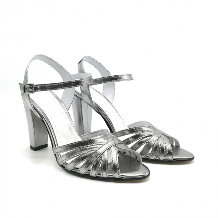 Sandale dama cu toc gros Shiny Silver din piele naturala