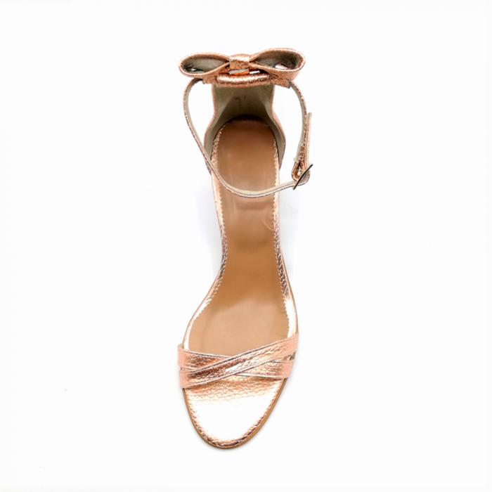 Sandale dama cu toc jos Copper Bow din piele naturala 2