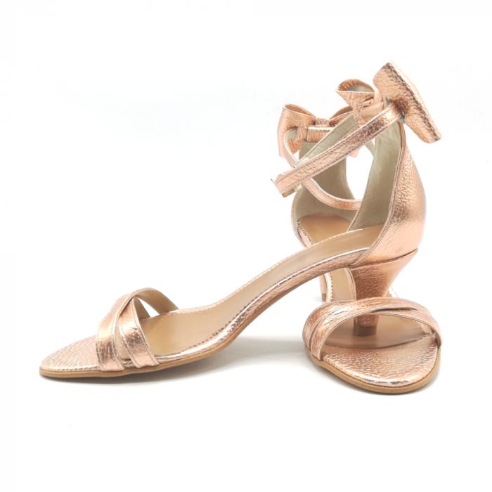 Sandale dama cu toc jos Copper Bow din piele naturala 3