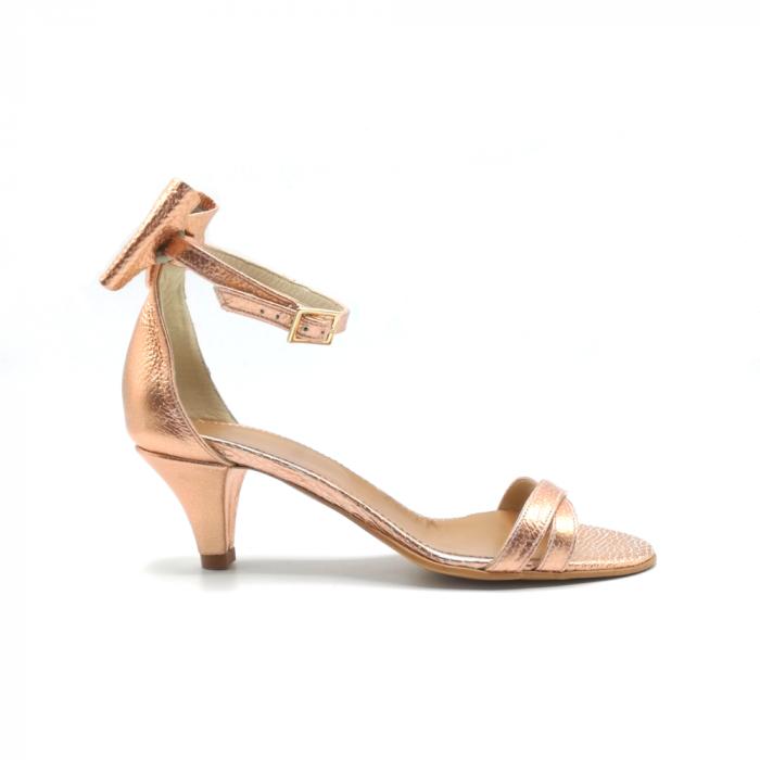 Sandale dama cu toc jos Copper Bow din piele naturala 0