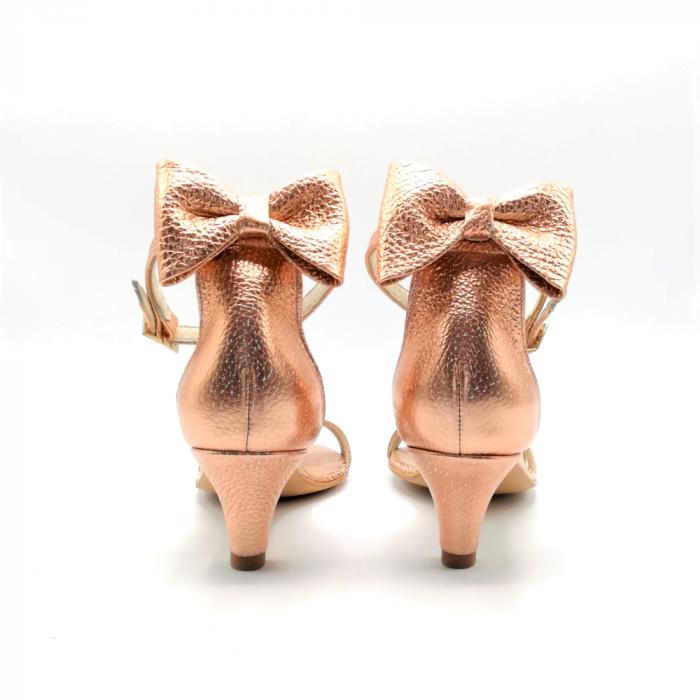 Sandale dama cu toc jos Copper Bow din piele naturala 1