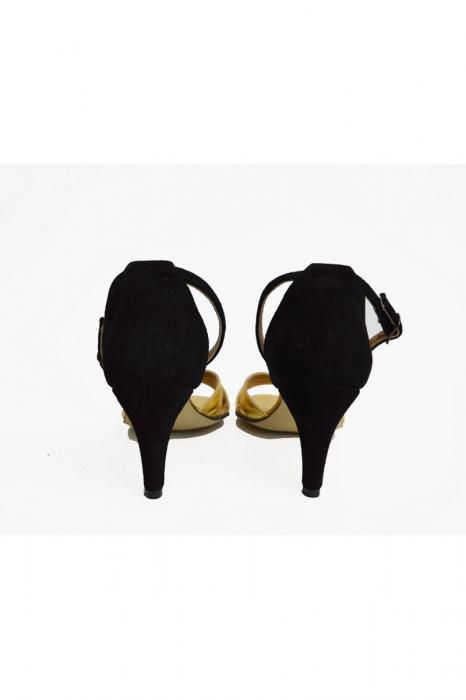 Sandale dama cu toc jos Gold Straps 3