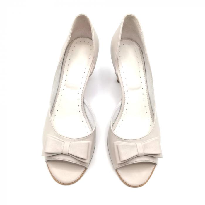 Sandale dama cu toc jos Grey Bow, 39 2