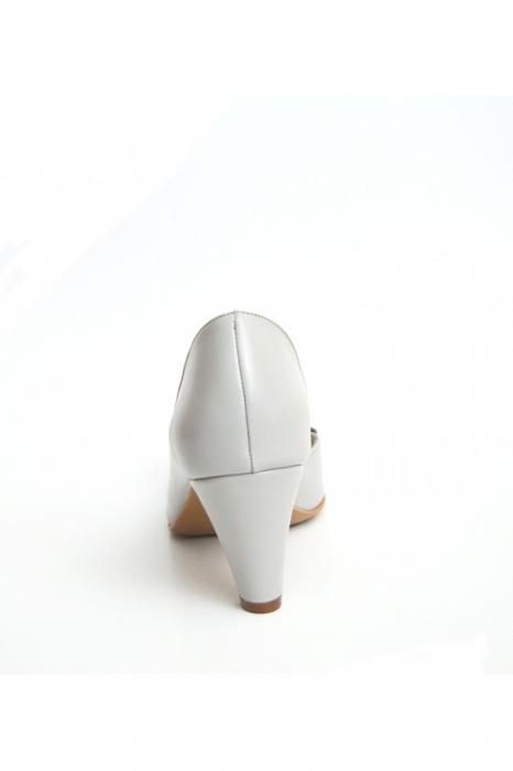 Sandale dama cu toc jos Grey Bow 2
