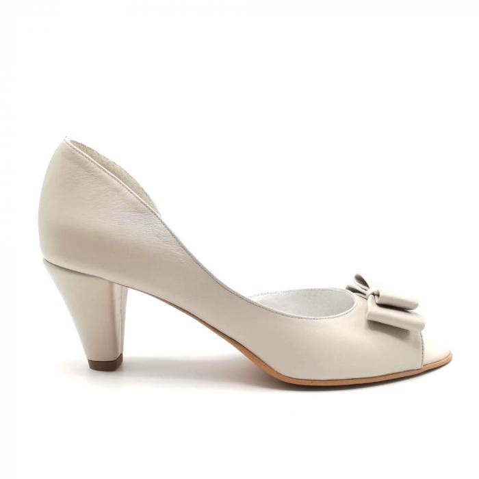 Sandale dama cu toc jos Grey Bow 0