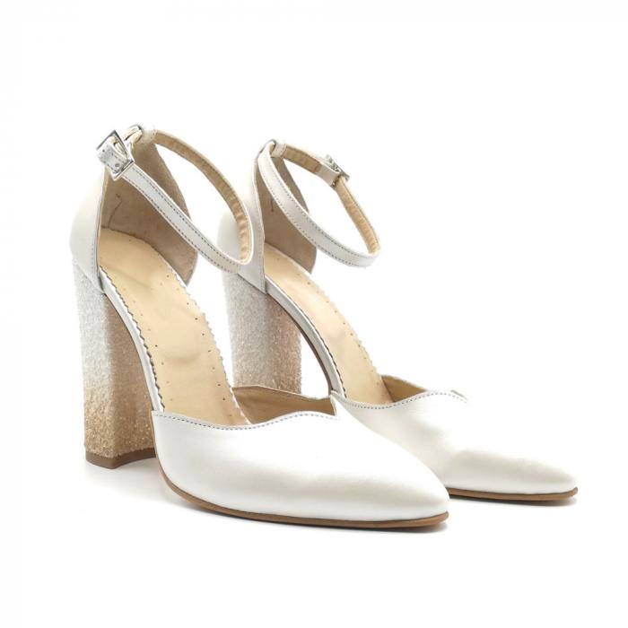 Pantofi dama cu toc gros White Glitter Sidef din piele naturala 1