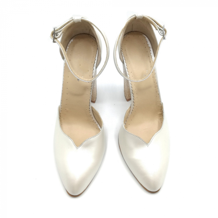 Pantofi dama cu toc gros White Glitter Sidef din piele naturala 4