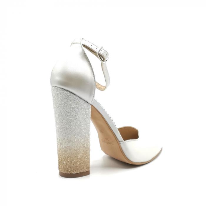 Pantofi dama cu toc gros White Glitter Sidef din piele naturala 3