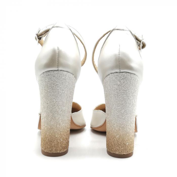 Pantofi dama cu toc gros White Glitter Sidef din piele naturala 2