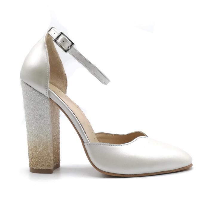 Pantofi dama cu toc gros White Glitter Sidef din piele naturala 0