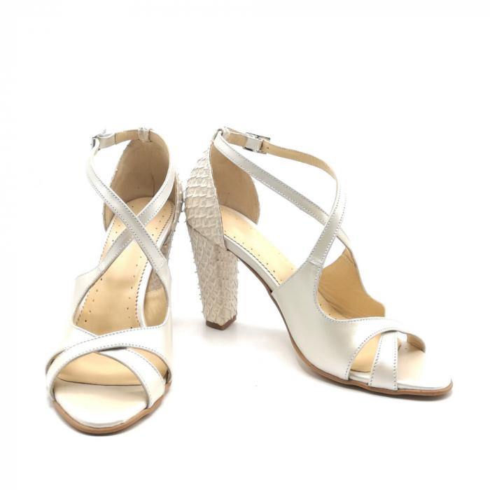 Sandale dama cu toc gros White Scales din piele naturala