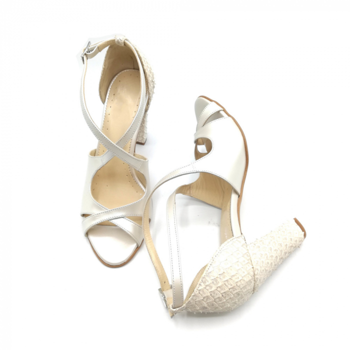 Sandale dama cu toc gros White Scales din piele naturala 4