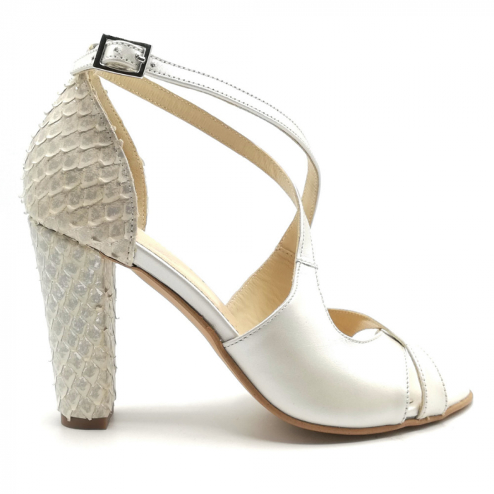 Sandale dama cu toc gros White Scales din piele naturala 0
