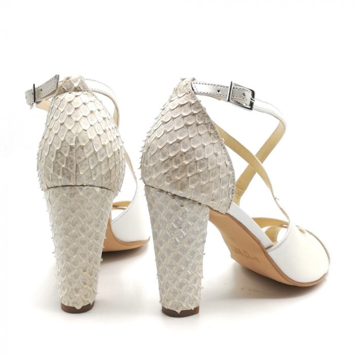 Sandale dama cu toc gros White Scales din piele naturala 3