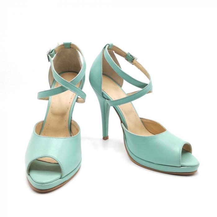 Sandale dama cu toc Mint din piele naturala 3
