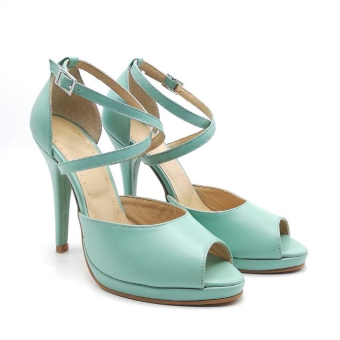 Sandale dama cu toc Mint din piele naturala 1
