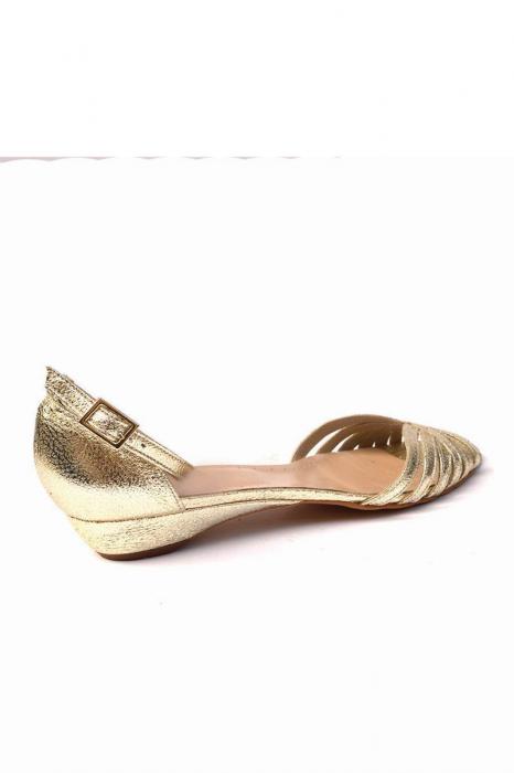 Sandale dama din piele naturala Gold Stripes 3