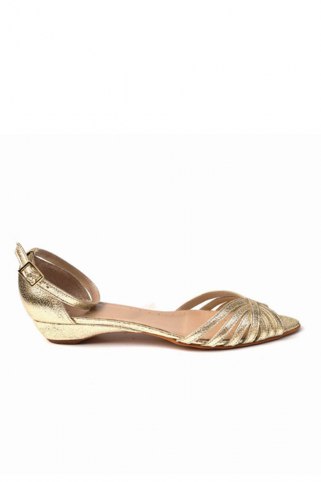 Sandale dama din piele naturala Gold Stripes 0